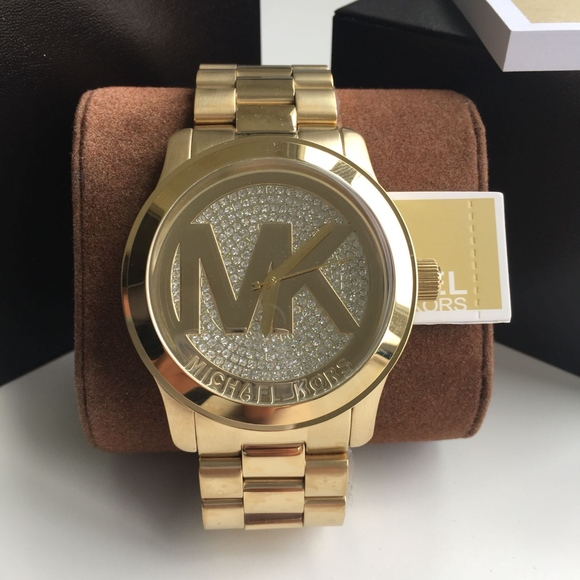 3db91ce61323 New Michael Kors Gold Runway Ladies Watch Mk5706